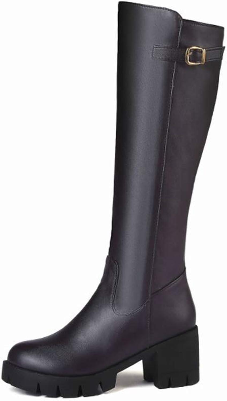 HN Stiefel Damen Oberschenkel Hohe Stiefel Blockabsatz Schwarz Braun Leder Leder Mode Herbst Winter Mittel-Kalb Stiefel Schuhe Größe 35-45  Großhandelspreis