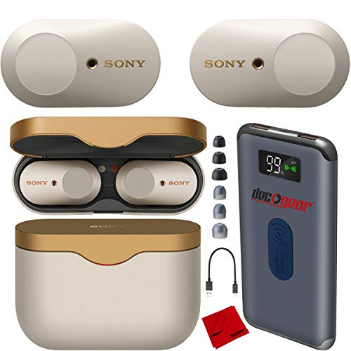 Sony WF-1000XM3 Truly Wireless Earbuds Headphones with Industry-Leading Noise Cancellation - Silver WF-1000XM3/S with Charging Case Bundle Including Deco Gear Power Bank Charger + Headphone Cloth
