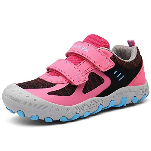 Mishansha Zapatos de Running Niñas Zapatillas Deportivas Transpirable Antideslizante Zapatos de Senderismo Ligeras Calzado Trekking, Rosa, 29 EU
