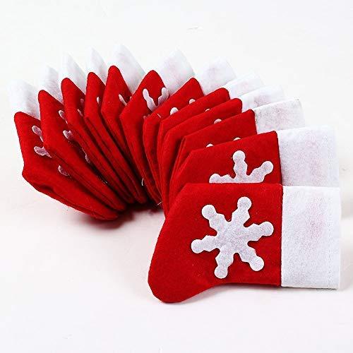 HDMI SM 10 pezzi calze di Natale carino portaposate coltelli forchette borse da tavola perfette per la decorazione della tavola di Natale dei bambini