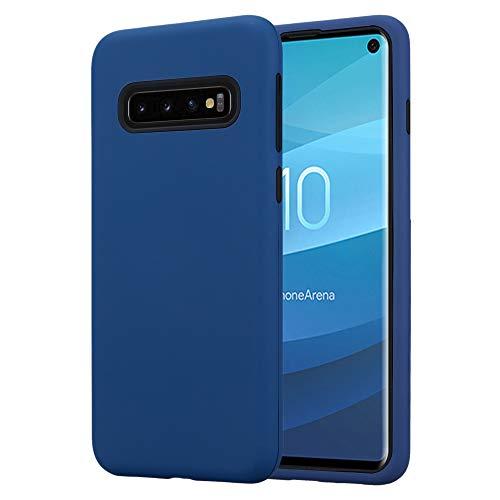 Cadorabo Custodia per Samsung Galaxy S10 in BLU SCURO - Hybrid Cover con Lato Interno Silicone TPU e Lato Esterno Plastico a Due Parti - Back Hard Case Bumper Antiurto Guscio