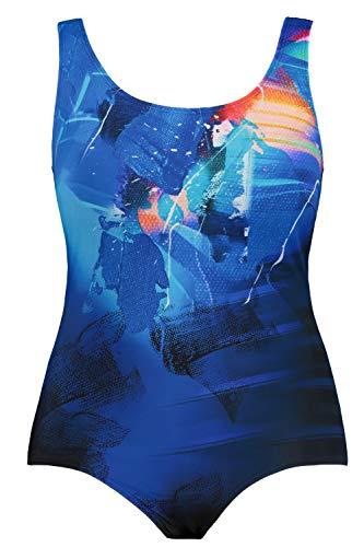 Ulla Popken Damen große Größen Übergrößen Plus Size Badeanzug, Sportives Muster, Unterbrustband Multicolor 46 747876 90-46