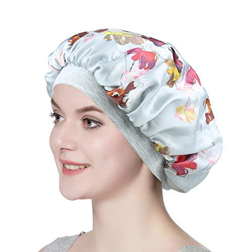 Stylish Sleep Cap Silky Double-Layered Satin Bonnet Premium Wide Band Nightcap for Hair Beauty Women Headwear