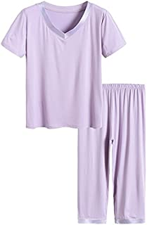 Image of Comfy Soft Bamboo Purple Capri Pajama Set for Women - See More Colors