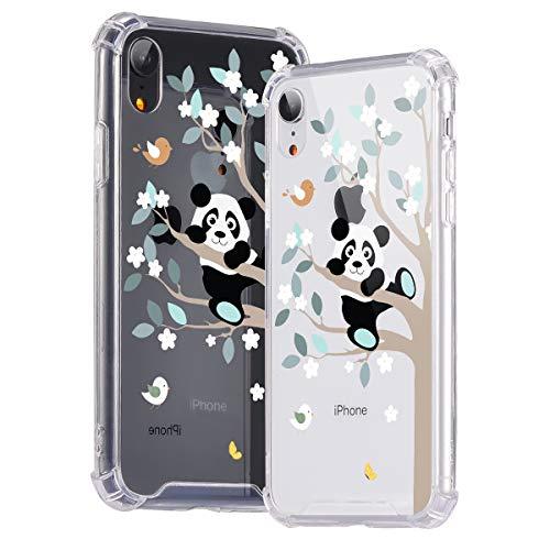 Idocolors Cover per iPhone SE 2020/7 / 8 Panda Trasparente Custodia con Antiurto Cuscino d'Aria [Pannello Posteriore in Rigida PC + Angoli in TPU Morbido] Bumper Protettiva Silicone Case