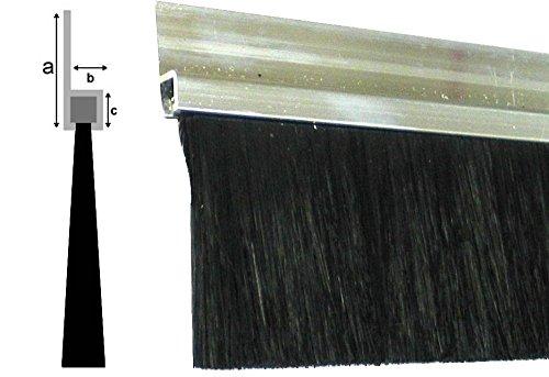 Bürstendichtung 50mm Borsten (dichter PU Besatz), Länge 1000mm / 100cm / 1m, Aluminium-Profil 25mm, schwarz, Tür Streifenbürste Türbürste Türdichtung Türbesen Torbürste Torbesen