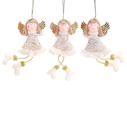 Qiman Natale Bambola Angioletto Sospeso Confezione Da 3 Pezzi Dolce Bambola Angeli Albero Di Natale Porta Decorazione Casa Terrazza Giardino Festa Halloween Decorazione, Gold