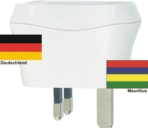 Design Reisestecker Adapter Mauritius auf Deutschland, Schukostecker 230V, Umwandlungsstecker MU-D