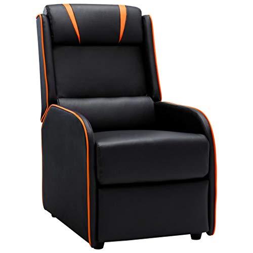 UnfadeMemory Sillón Reclinable de Salon,Sillón de Relax,Sillón de TV Reclinable,Cuero Sintético,56x86x102cm (Negro y Naranja)