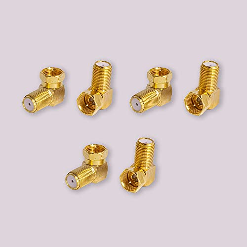 Installer Approved ECDA90D 6-Pack 90 Degree Coaxial Connector, Right Angle F-Type RG6 Male to Female Adapter Gold Plated