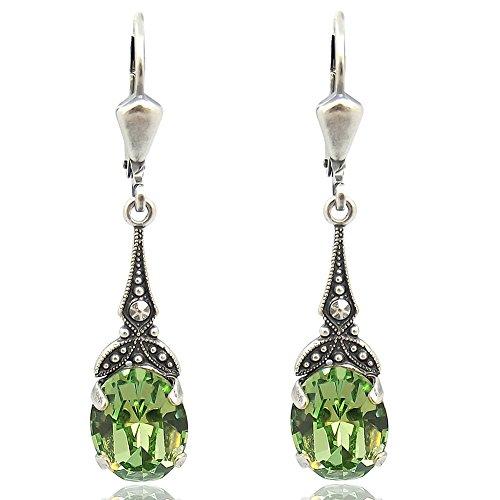 Jugendstil Ohrringe mit Kristallen von Swarovski® Grün Silber NOBEL SCHMUCK