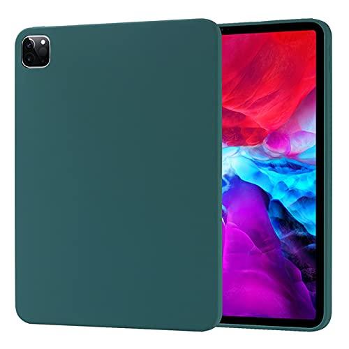 Funda para iPad Pro 12.9' (4ª generación) 2020, Carcasa de Silicona Líquida Suave Antichoque Bumper, Fundas Silicona Líquida Protección con Forro de Microfibra,Green