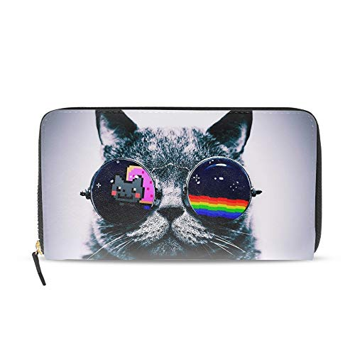 Women Nyan Cat Glasses Zip Around Wallet Clutch Large Travel Purse