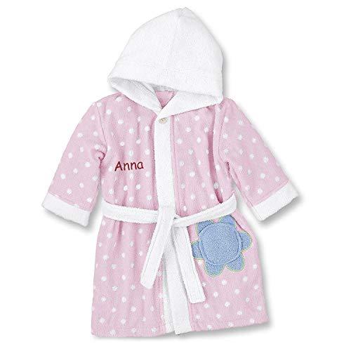 LALALO LALALO Sterntaler Bademantel Bestickt mit Namen für Mädchen (Baby & Kinder), 100% Baumwolle, Kinderbademantel personalisiert mit Name (98/104, Katharina Rosa)