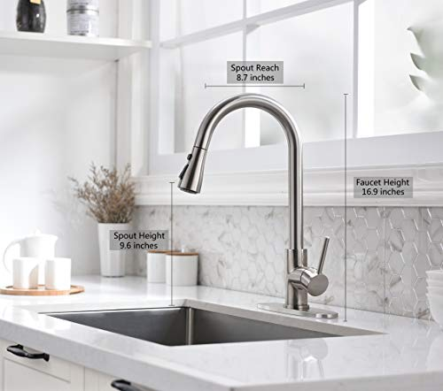 Kitchen Faucet-Single Handle Stainless Steel Kitchen Sink Faucet with Pull Down Sprayer Solid Brass Faucets for Kitchen Sinks (Brushed Nickel Moone )