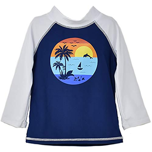 Flap Happy Jungen UPF 50+ Graphic Swim Top Rash Guard Hemd, SONNENBETTEN, 18 Monate