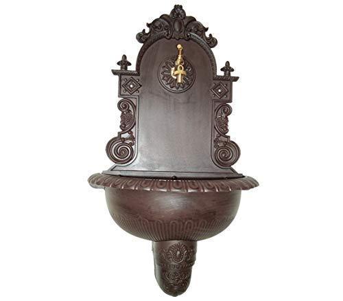 linoows Wandbrunnen, Nostalgie Brunnen, Aluminium, Wetterfest, Braun, 80 cm