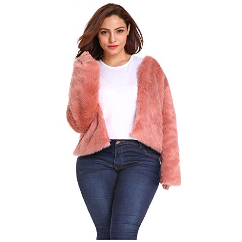 KPILP Große Größe Damen Mantel Kunstpelz Cardigan Plüsch Jacke Kurz Pelzmantel Teddy-Fleece Mantel Coat Herbst Winter Lange Ärmel Tops Pullover Warme Winterjacke