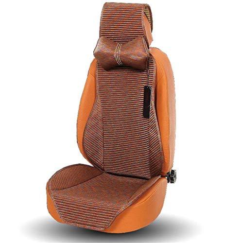 ELEGENCE-Z autostoelhoezen, sprei van linnen, comfort, stoelhoezen voor 5-zits, voorstoelen en achterbank - bruin