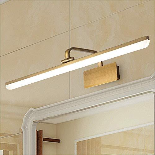 Lámpara LED de baño XINDAR con brazo de arco de latón antiguo, aplique de pared de color dorado moderno para montaje en pared sobre...