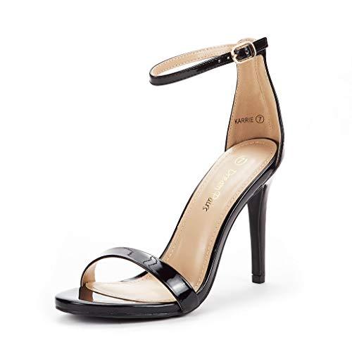 DREAM PAIRS Women's Karrie Black Pat High Stiletto Pump Heeled Sandals Size 7 B(M) US