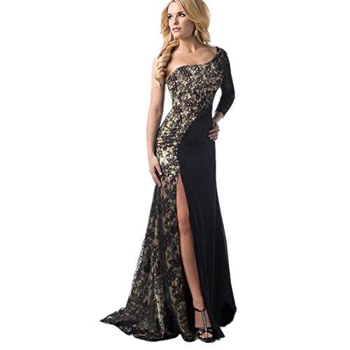 Kleid Damen Kolylong® Frauen Elegante Spitze trägerlos Kleid Split Kleid lang Cocktail Party Kleid rückenfrei Strandkleid Abendkleid Kleid der Brautjungfer (S, Schwarz)