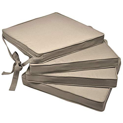 Beautissu Set de 4 Cojines para sillas Loft SK - Juego de Cojines cómodos para Asientos 45x40x5 cm Natural - Cojines Elegantes y Modernos