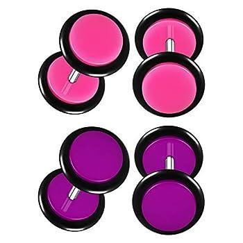 BIG GAUGES 2 Pairs Pink Acrylic 16g Gauge 1.2mm 8mm Purple Fake Ear Plugs Piercing Jewelry Earring Cheater Lobe Illusion O Rings BG8643