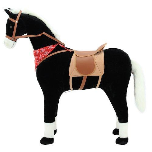 Sweety Toys 10349 Plüsch Pferd XXL Riesen Stehpferd Reitpferd Blacky Größe ca.105 cm Kopfhöhe bis 80 kg belastbar, Farbe schwarz mit weisser Mähne und Schweif mit Sattel und Pferdedecke Zaumzeug