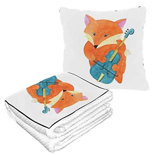 Tanzender kleiner Fuchs Musik-Reisedecken für Erwachsene, Flugzeug, warm, weich, 2-in-1-Kombination, Reisekissen, Camping, Autoausflüge, Reisegröße, Decke für jede Reise