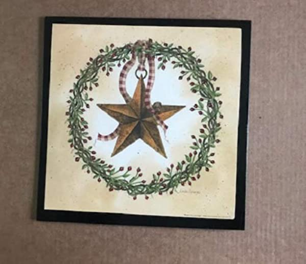 Berry Vine Wreath Metal Barn Star Country Primitive Wood Home Wall Decor Sign Tkcss