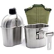 Latinaric 1L Edelstahl Wasserflasche Armee Militär Kochgeschirr Überleben Trinkflasche