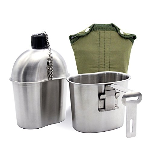 Latinaric 1QT Portable Water Bottle Stainless Steel Military Canteen with 0.5QT Cup Green Bag Outdoor Sport Camping Hiking Travel
