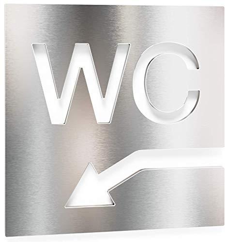 Letrero para WC - señalización autoadhesiva de acero inoxidable para el baño - instalación sin herramientas - flecha a la izquierda - rótulo para inodoro - INOXSIGN W05
