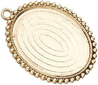 4Pcs Beaded Frame Pendant Trays - Antique Gold Finished - Cabochon Setting Photo Pendant Cameo Bezel
