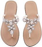 Hinyyrin Women's Summer Rhinestone Bling Wedding Sandals,Glitter Jeweled Sandals,Dressy Flat Sandals,Beach Flip-Flops, Size 11 White