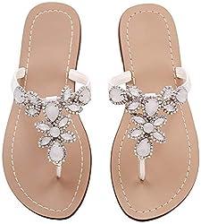 White Rhinestone Flat Flip Flop Sandal