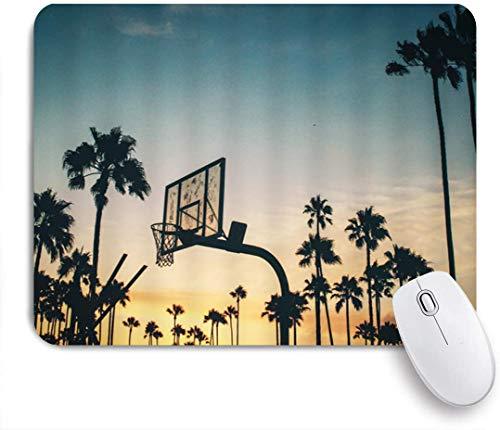 FAKAINU Gaming-Mauspad,Basketball Stand Outdoor Sport Dawn Natur Tropische Palme Silhouette Afterglow Daybreak Landschaft,Rutschfest Verschleißfestes Und Haltbares Gummi,Mousepad Für Bürocomputer