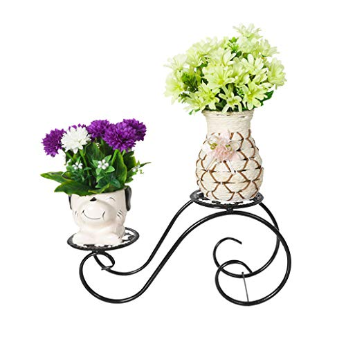 Pot de fleurs Support de fleurs multicouche Windowsill Desk Plante charnue Creative Iron Art Support de fleurs pour balcon (Couleur : Noir)