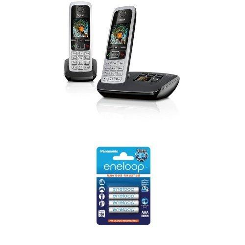 Gigaset C430A Duo Dect-Schnurlostelefon + Panasonic eneloop AAA NI-MH Akku (750mAh, 4er Pack)