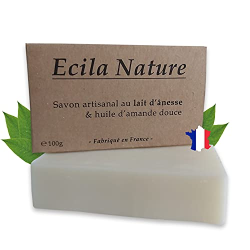 ECILA NATURE - Savon artisanal au lait d'ânesse et huile d'amande douce - Savon 100% naturel, sans huile de palme, sans parfum, sans conservateur. Fabriqué en France. 100g