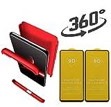 hyujia Compatible Xiaomi Redmi Note 8T Funda(2018) Carcasa 360° Ultra Fina Protectora cojín+Vidrio Templado Pantalla Protector,3 in 1 PC Hard Caja Caso Skin Case Cover Carcasa para Note 8T Rojo