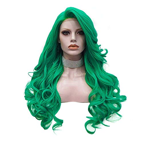 IMSTYLE Long Green Lace Front Wigs Synthetic Hair Replacement Wigs Lolita Green Natural Wavy Hair Wig for Women 24 Inch