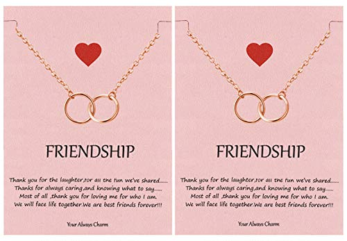 Your Always Charm Double Circle Knot Necklace,Two Interlocking Infinity Circles Gift for Best Friend (2 Rose Gold)