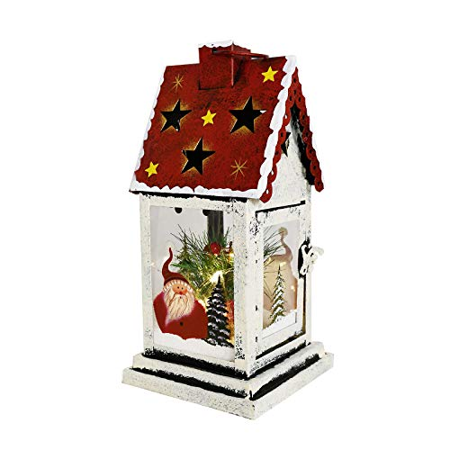 Decorative Christmas Lantern Hanging LED Lantern Decor, Rustic Metal Holiday Lantern Table Top Lantern Battery Operated Indoor Outdoor Hanging Lantern Table Centerpiece (10X4.6X4.6in, Red)