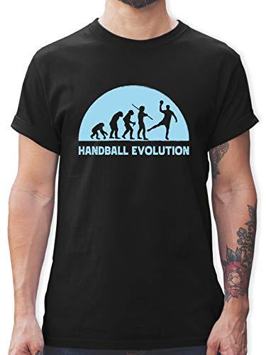 Handball - Handball Evolution hellblau - XL - Schwarz - Spruch - L190 - Tshirt Herren und Männer T-Shirts