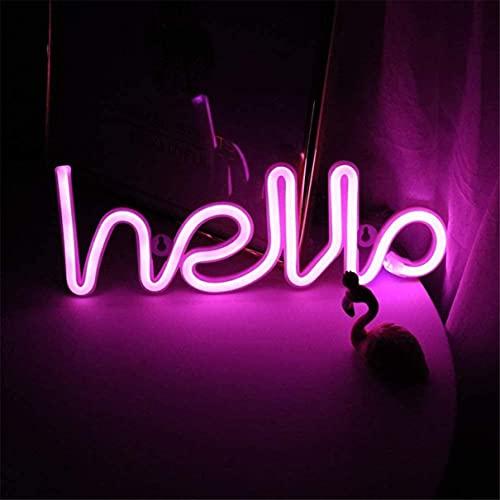QiaoFei Neonljus, LED Hello Neon ordskylt neon bokstäver ljus konst dekorativa lampor, markis-skyltar/väggdekor för jul, födelsedagsfest, barnrum, vardagsrum, bröllopsfesttillbehör (rosa hej)