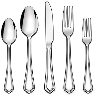 LIANYU 30-Piece Silverware Set, Stainless Steel Flatware Cutlery Set for 6, Eating Utensils Set with Scalloped Edge, Dishwasher Safe, Mirror Polished