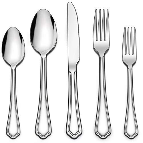 LIANYU 60-Piece Silverware Set, Stainless Steel Flatware Cutlery Set for 12, Eating Utensils Set with Scalloped Edge, Include Knives Forks Spoons, Dishwasher Safe, Mirror Polished
