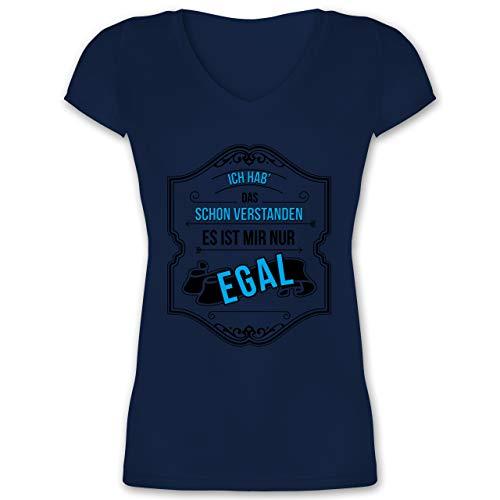 Statement - Ich hab das Schon verstanden ist Mir nur egal - L - Dunkelblau - t-Shirt mit sprüchen - XO1525 - Damen T-Shirt mit V-Ausschnitt